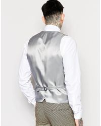 Heart & Dagger - Brown Dogtooth Waistcoat In Super Skinny Fit for Men - Lyst