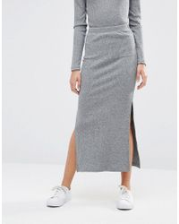 Pieces - Gray Pica Ribbed Maxi Skirt - Lyst