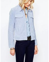 Pepe Jeans - Blue Suede Zip Up Jacket - Lyst