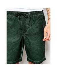 ASOS - Shorts In Dark Green Oil Wash With Elasticated Waist for Men - Lyst