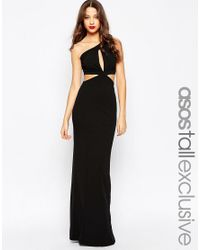 ASOS | Black Maxi Dress With One Shoulder And Cut Out Back | Lyst