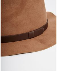 ASOS - Brown Fedora Hat In Camel Faux Suede for Men - Lyst