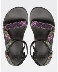 Teva - Multicolor Original Univeral Iridescent Black Flat Sandals - Lyst