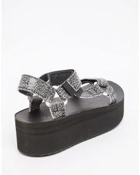 Teva - Flatform Universal Crackle Black Sandals - Lyst