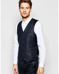 ASOS | Blue Slim Waistcoat In Navy 100% Wool for Men | Lyst