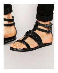 ASOS | Sandals In Black Leather | Lyst