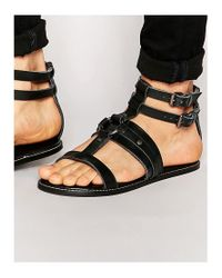 ASOS - Sandals In Black Leather - Lyst