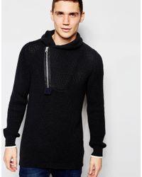 9dc70d13dce G-Star RAW. Men's Shawl Knit Sweater Filler Aero Zip Neck In Black/mazarine  Blue