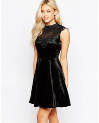 Oasis | Black Asis Velvet Lace Trim Skater Dress | Lyst