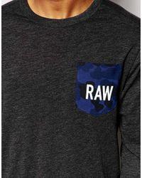 G-Star RAW - Long Sleeve Top Garain Crewneck Raw Camo Pocket In Black for Men - Lyst