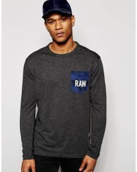 G-Star RAW | Long Sleeve Top Garain Crewneck Raw Camo Pocket In Black for Men | Lyst