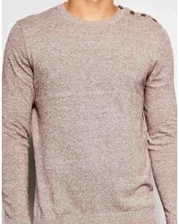 ASOS - Gray Cotton Jumper With Button Shoulder for Men - Lyst