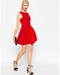 ASOS - Red 3d Flower Mini Scuba Skater Dress - Lyst