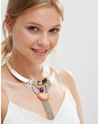 Nylon - Metallic Statement Collar Necklace With Fringe Detail - Lyst