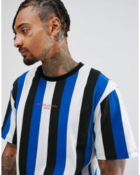 Granted T-shirt In Blue Stripe With Print for men