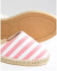 Daisy Street - White Stripe Ankle Tie Espadrilles - Lyst