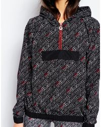 Fila - Black Hooded Festival Windbreaker Jacket With All Over Print - Lyst