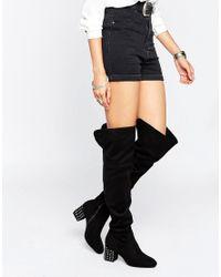 Daisy Street - Black Stud Heeled Over The Knee Boots - Lyst