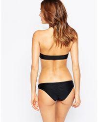 South Beach - Black Mix And Match Zip Through Bandeau Bikini Top - Lyst