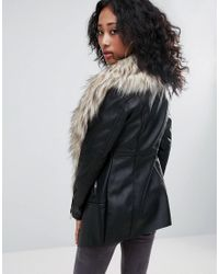 Urban Bliss - Black Waterfall Coat With Wide Faux Fur Collar - Lyst