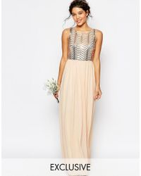 TFNC London | Pink Wedding Sequin Maxi Dress With Open Back | Lyst