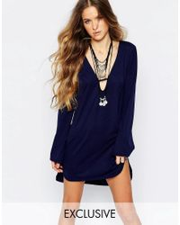 Glamorous   Blue Tunic Dress With Cut Out Collar And Flare Sleeve   Lyst