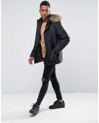 Jack & Jones - Black Core Parka With Faux Fur Hood for Men - Lyst