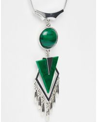 ASOS | Green Triangle Tassel Necklace | Lyst