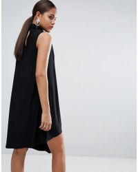 ASOS - Black Slinky High Neck Shift Dress With Asymmetric Hem - Lyst