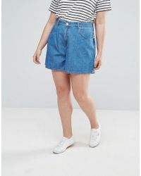ASOS - Blue Denim Culotte In Midwash - Lyst