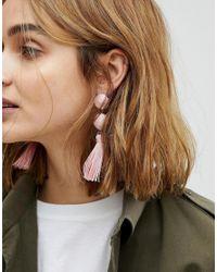 ASOS - Pink Asos Wrapped Bead & Tassel Earrings - Lyst