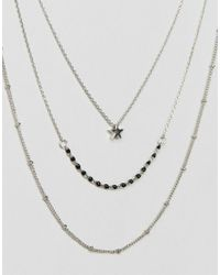 Pieces - Metallic Layered Trio Necklace - Lyst