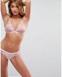 Peony Applique Lace Triangle Bra - Pink Asos Sale Really Online P0pw06n