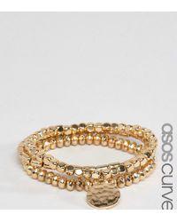 ASOS | Metallic Pack Of 3 Gold Stretch Bead Friendship Bracelets | Lyst