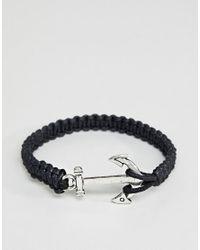 ASOS - Anchor Bracelet In Black for Men - Lyst