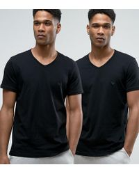 Emporio Armani | Black Cotton V-neck T-shirts 2 Pack In Regular Fit for Men | Lyst
