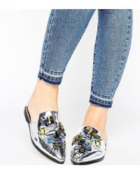 ASOS - Metallic Millisect Wide Fit Embellished Mules - Lyst