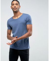 ASOS - T-shirt With Scoop Neck In Blue for Men - Lyst