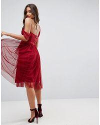 ASOS - Red Asos Dobby One Shoulder Midi Prom Dress - Lyst