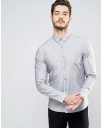 da45057e340 Lyst - HUGO By Boss Ero 3 Shirt Collar Stripe Slim Fit In Grey ...