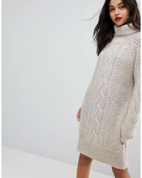 River Island - Multicolor Oversized Cable Knit Sweater Dress - Lyst