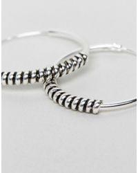 ASOS - Metallic Sterling Silver Wrap Hoop Earrings - Lyst