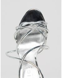 Office - Metallic Spindle Silver Mirror Strappy Heeled Sandals - Lyst