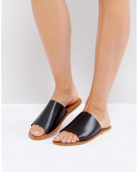 Warehouse | Black Leather Slider Sandal | Lyst