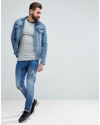 ASOS DESIGN - Gray Asos T-shirt With Contrast Ringer And Cuff for Men - Lyst