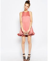 ASOS - Pink Mini Shift Dress With Ruffle Hem - Lyst