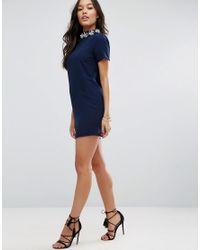 ASOS - Blue Short Sleeve Embellished Trim High Neck Dress - Lyst