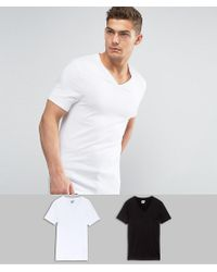 ASOS - 2 Pack Muscle Fit T-shirt In White/black With V Neck Save for Men - Lyst