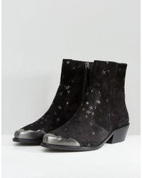 ASOS DESIGN - Black Amma Suede Star Boots - Lyst
