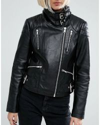 ASOS - Black Leather Biker Jacket With Funnel Neck - Lyst